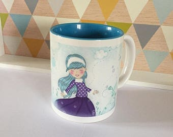 Illustrated and colorful mug * among the flowers *.