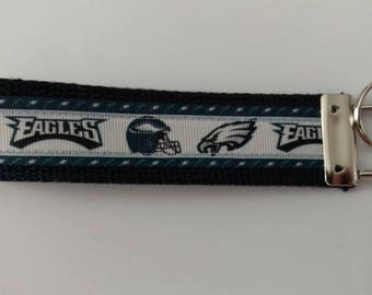 Philadelphia Eagles fan Key Fob Wristlet Key Chain - Batman Grosgrain Ribbon on Black Cotton Heavyweight Webbing