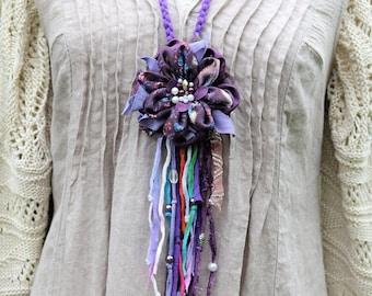 On SALE Purple fiber necklace Jewelry art jewelery Shabby flower accessories bohemian chic upcycled bijoux gypsy artsy whimsical mori girl i