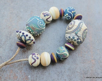 """L'atelier de jacquelina    """" Sur commande set de 14 perles en verre filé/ON ORDER 14 lampwork handmad  '"""