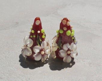 """L'atelier de jacquelina    """" 2 perles en verre filé à la flamme /handmad set  2 lampworks"""