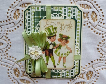 St. Patrick's Day Erin go Bragh Greeting Card,Authentique