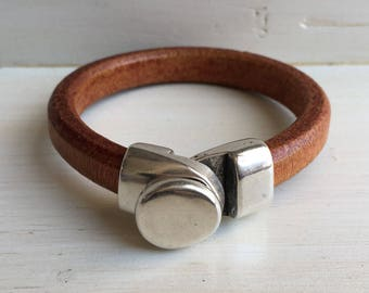 Thick COGNAC brown leather and SILVER button clasp cuff BRACELET