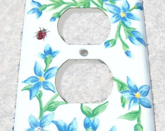 Blue Floral Steel Outlet Cover, Swarovski Crystals, Kids Room, Glittery Ladybug