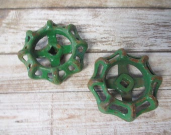 FAUCET HANDLES DISTRESSED - 2 Vintage 2 1/4 inch Rusty Green Heavy for Steampunk Industrial Decor, Altered Art Projects