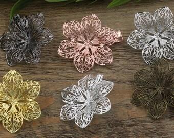 20 Brass Alligator Hair Clips W/ 40mm Filigree Flower Antique Bronze/ Silver/ Gold/ Rose Gold/ White Gold/ Gun-Metal Plated- Z7141