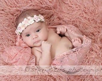 Pale Pink and Ivory Flower Newborn Crown - Light Pink and Ivory White Baby Flower Crown - Floral Crown - Soft Headband - Photo Prop