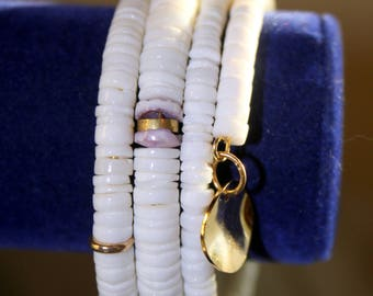 White Heishi Shell and Gold Lip Shell Wrist Wrap Cuff Bracelet