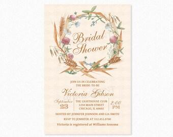Wildflower Bridal Shower Invitation, Fall Bridal Shower Invitation, Wildflowers, Cereals, Personalized, Printable or Printed