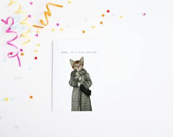 Cat Christmas Card, Kitten Card, Blank Greetings Card - KItten Dressed as Cat