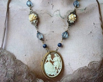 MEMORIAL DAY SALE Sale / Vintage Ivory Lovers Cameo Necklace w/ Sodalite Gemstones, Glass Beads, Baroque Rococo Victorian Edwardian Roses Bo