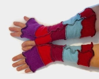 Upcycled Fingerless Gloves Blue  Pink Red Armwarmers Recycled Wrist warmers Stripe Knit Fingerless Mittens Colorful fashion gift
