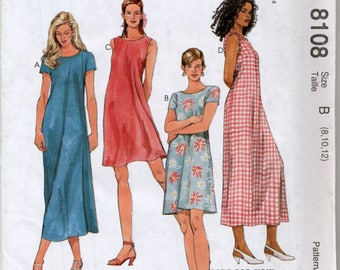 Misses' Pullover Dress in Two Lengths Sewing Pattern - 1 Hour Dress - McCall's 8108 - Sizes 8, 10, 12 - UNCUT