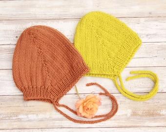 Knit Baby Bonnet. Lemongrass Wool Bonnet. Brown Cotton Bonnet. Baby Boy Bonnet. Baby Girl Bonnet.