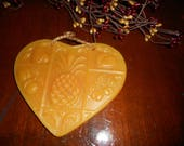 Vintage Beeswax Kitchen Ornament. Country Heart with Pineapple & Fruit . Old German Ornament
