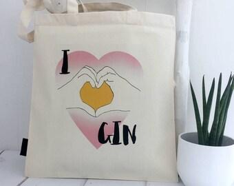 I Heart Gin | Gin Bag | Gin Gift | Gift For Gin Lovers | Gin Tote | Gin And Tonic