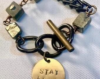 Stay Woke Pyrite Stamped Metal  Bracelet in Brass or Black
