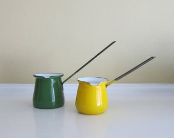 Yellow and Green Enamel Pair of Butter Warmers/Turkish Coffee Ladles