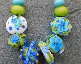 SALE Calypso, Set 3 Lampwork Beads