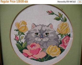 Darling Shabby Chic Cottage Chic  NeedlePoint Kitty with Roses  Wallhanging Oak Frame Circa 1960s