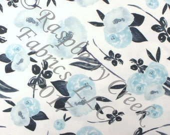 Navy and Light Blue Tonal Watercolor Floral 4 Way Stretch Jersey Knit Fabric, Fall Floral for Club Fabrics