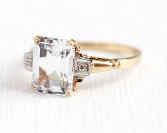 Created Spinel Ring - 10k Rosy Yellow Gold Genuine Diamond & White Synthetic Stone - Size 7 1/2 Retro Emerald Cut Statement 40s Fine Jewelry