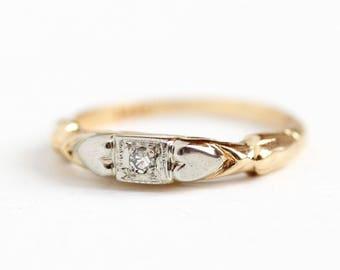 Vintage Wedding Band - 14k Yellow & White Gold Diamond Ring - Late Art Deco 1940s Size 3 3/4 Engagement Bridal Fine Heart Romantic Jewelry