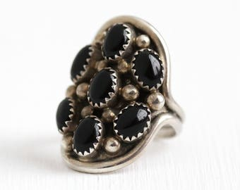 Vintage Onyx Ring - Sterling Silver Black Onyx Gem 70s Jewelry - Size 7 3/4 Retro 1970 Southwestern Cabochons Signed LH Tribal Style Jewelry
