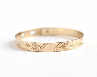 Antique Flower Bracelet - Vintage Early 1900s Floral Rosy Yellow Gold Filled - Adjustable Thin Dainty Buckle Bangle Art Nouveau Jewelry