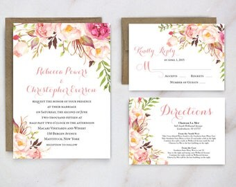 Boho wedding Invitation, Rustic wedding invite, Blush wedding invitation, Garden Wedding Invitation, Southern Wedding, Wedding Invitations