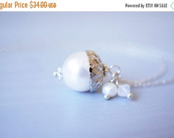 SALE Necklace, Acorn Necklace, Pearl Necklace, Silver Necklace, Peter Pan Necklace, Crystal Necklace, Handmade Necklace, Gift for Her, Gift