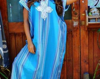 SUMMER 10% OFF // Caftan Kaftan Loungewear Turquoise-Perfect as loungewear, as beachwear, as spa robe, Valentine's day, Birthday & Honeymoon