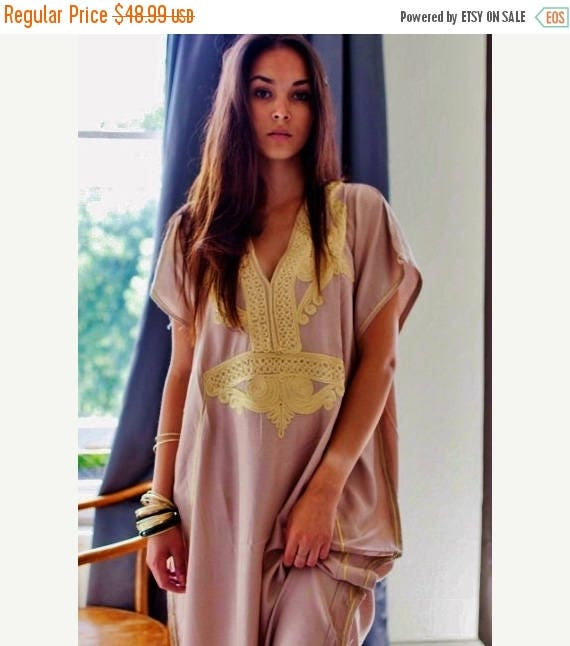 Autumn Dress 20% OFF/ Bohemian Kaftan Beige Marrakech Resort Caftan Kaftan -beach cover ups, resortwear,maxi dresses, birthdays, honeymoon,