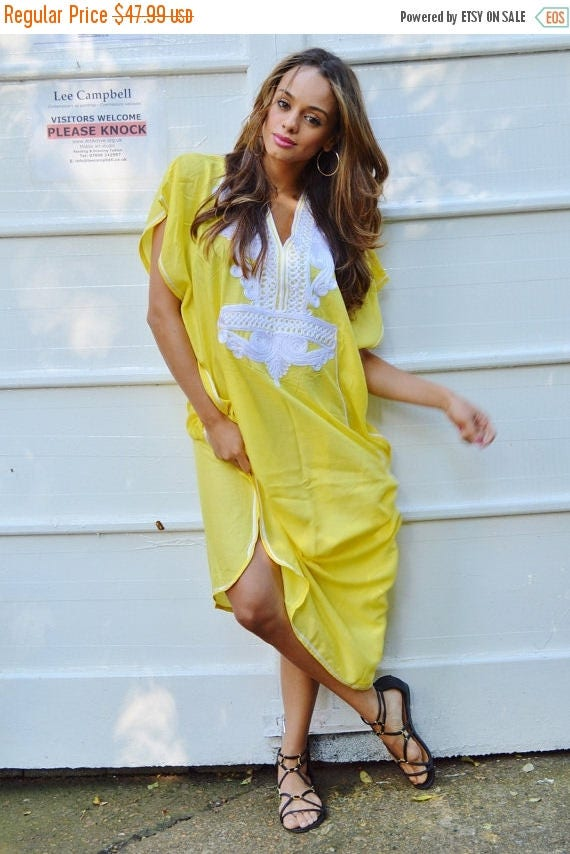 20% OFF Winter Sale// NEW Yellow White Marrakech Resort Caftan Kaftan -beach cover ups, resortwear,loungewear, maxi dresses, birthdays, hone