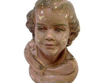 Child's Head Mannequin Sculpture 1955 Statue 1950s Garden Decor Country French Chippy