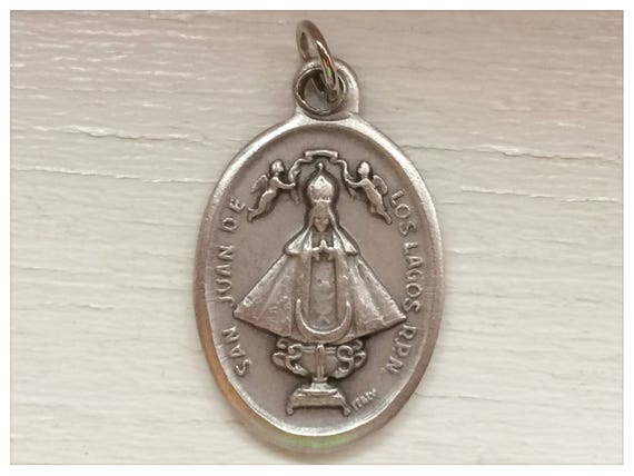 5 Patron Saint Medal Findings, San Juan de los Lagos, Die Cast Silverplate, Silver Color, Oxidized Metal, Made in Italy, Charm, RM509