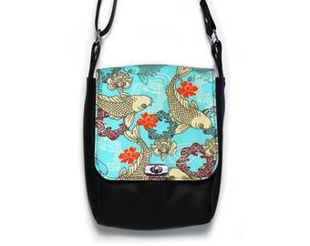 Minimalist womens bag, messenger bag, vegan leather bag, crossbody bag, small vegan handbag, vegan cross body bag, fish, Japanese print bag