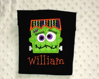 Toddler Boy Monster - Frankenstein Personalized Long Sleeved T Shirt Perfect For Halloween
