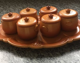 Vintage Antique French Country Pots de Creme
