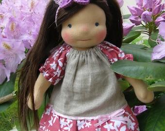 SALE -  Mia-Sitting style Waldorf Inspired Doll , 10 inch