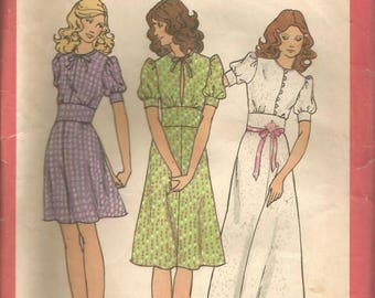1970s Dress 3 Lengths Puff Sleeves Midriff Inset Young America Creates Butterick 6571 Bust 32.5 Uncut FF Women's Vintage Sewing Pattern