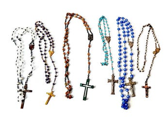 Lot Vintage Rosary Beads / Jewelry Supply/ Crosses/ Beads/ Plastic/ Glass/ Wood/ Lot of 6