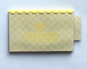Handmade Yellow 'My Keepers' Blank Recipe book for Personal Recipes