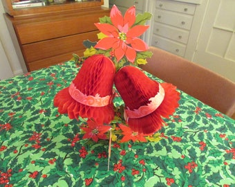 Vintage 1960s Mid Century Honeycomb Red Paper Christmas Holiday Bells Poinsettia Centerpiece by Hallmark