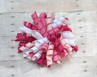 Pink hair bow, multi pink hair bow, pink korker bow, korker bow, corkscrew bow, cork screw bow, curly hair bow
