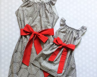 Gray and Red Matching Dresses - Mommy and Me Dresses - Mommy and Me - Mother Daughter Dresses - Mom and Me - Matching Mother Daughter Dress