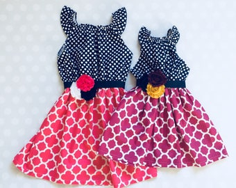 Sister Dresses - Matching Sister Dresses - Matching Not Matching - Easter Dresses - Easter - Sibling Dresses - Pink and Purple Dresses