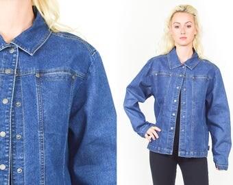 DENIM JACKET WOOLRICH 90's Blue Denim Coat. 90's Grunge. Rocker Boho Classic Denim. Contrasting Stitching. Size Large