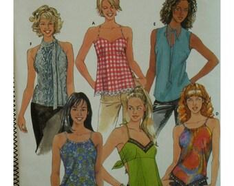 Skimpy Summer Tops Pattern, Tie Back, Halter, Lace-up Back, Shaped Hem, Neck Tie, Empire Waist, Simplicity No. 9563 UNCUT Size 4 6 8 10