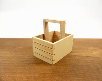 """Miniature Wood Crate Box with Handle, Doll or Dollhouse, Fairy Garden Accessory 2 3/8"""" H x 2 3/8"""" W x 1 3/4"""" Deep - 1 Piece"""